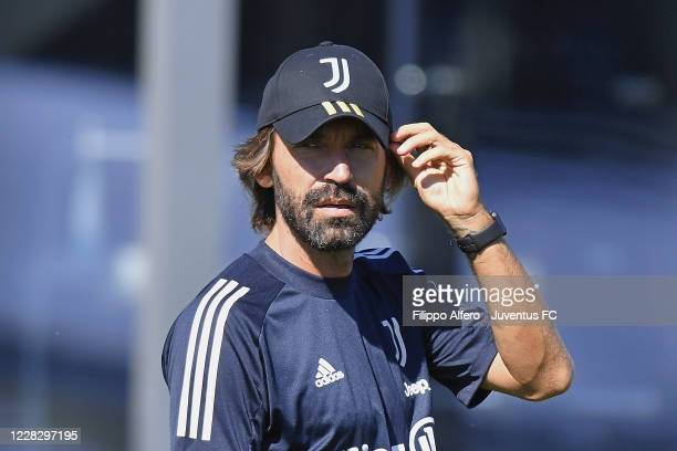 Juventus head coach Andrea Pirlo looks on during a Juventus Training Session at JTC on September 01, 2020 in Turin, Italy.