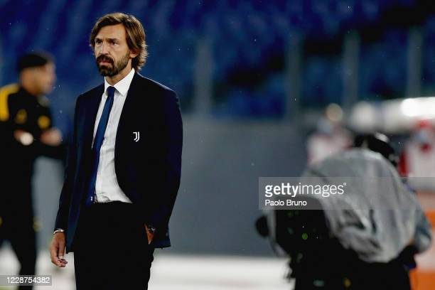 Juventus head coach Andrea Pirlo looks on during the Serie A match between AS Roma and Juventus at Stadio Olimpico on September 27, 2020 in Rome,...