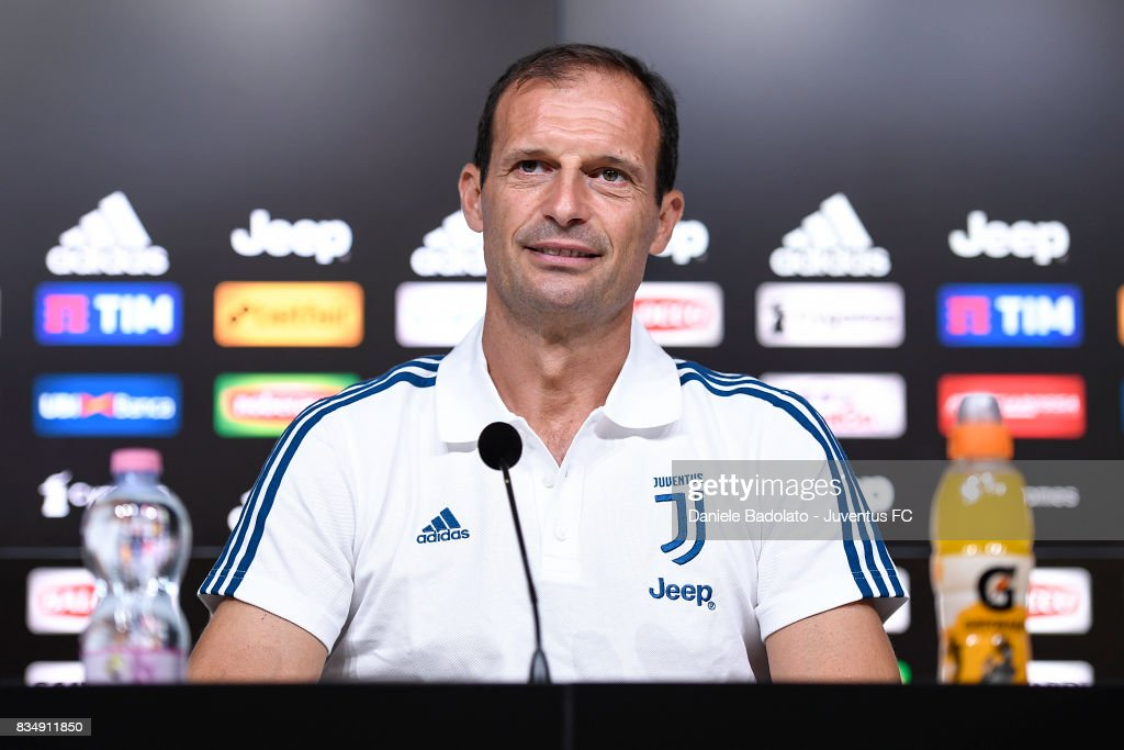 Juventus head coach Massimiliano Allegri attends a press conference at Juventus Center Vinovo on August 18, 2017 in Vinovo, Italy.