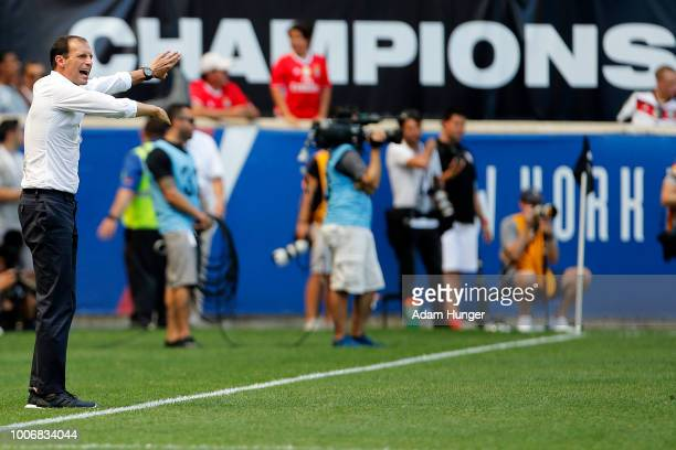 Juventus head coach Massimiliano Allegri directs his team against Benfica during the International Champions Cup 2018 match between Benfica and...