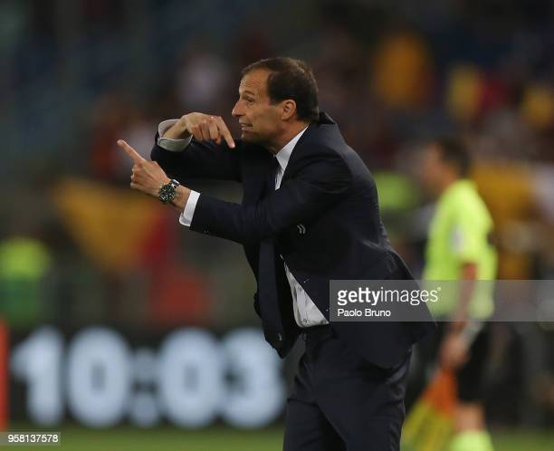 Juventus head coach Massimiliano Allegri gestures during the Serie A match between AS Roma and Juventus at Stadio Olimpico on May 13 2018 in Rome...
