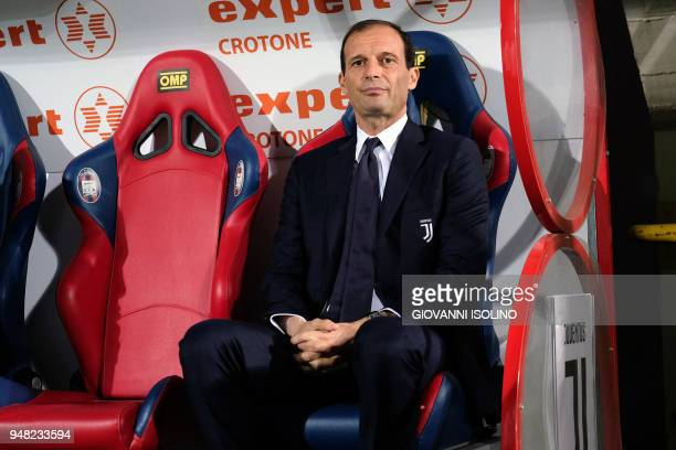 Juventus' head coach Massimiliano Allegri looks on during the Italian Serie A football match FC Crotone vs Juventus on April 18 2018 at the Ezio...