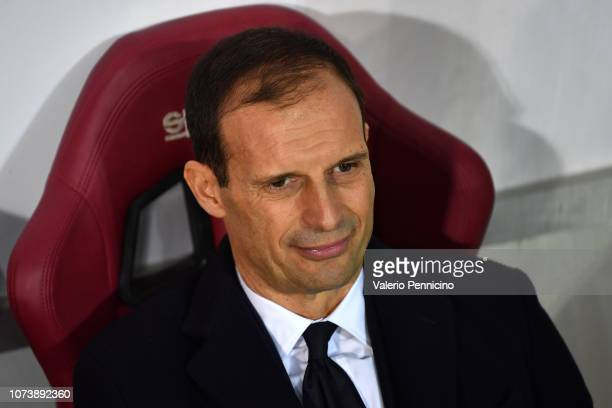 Juventus head coach Massimiliano Allegri looks on during the Serie A match between Torino FC and Juventus at Stadio Olimpico di Torino on December 15...
