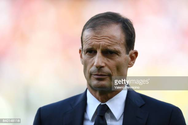 Juventus head coach Massimiliano Allegri looks on during the Serie A match between Genoa CFC and Juventus at Stadio Luigi Ferraris on August 26 2017...