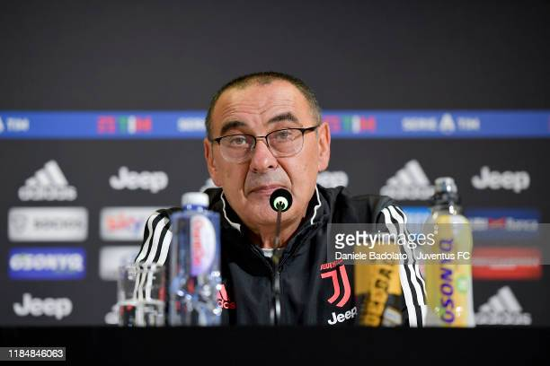 Juventus head coach Maurizio Sarri attends a Press Conference at Allianz Stadium on November 01, 2019 in Turin, Italy.