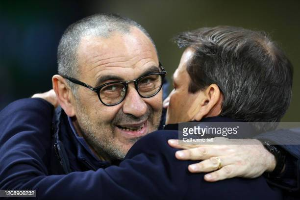 Juventus head coach Maurizio Sarri during the UEFA Champions League round of 16 first leg match between Olympique Lyon and Juventus at Parc Olympique...
