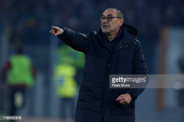 Juventus head coach Maurizio Sarri gestures during the Serie A match between AS Roma and Juventus at Stadio Olimpico on January 12, 2020 in Rome,...
