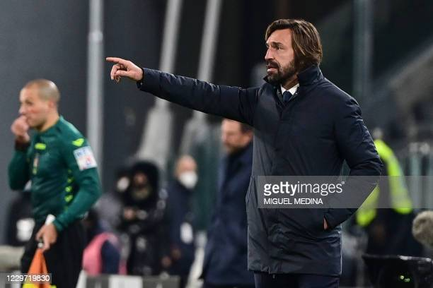 Juventus' Italian coach Andrea Pirlo gives instructions during the Italian Serie A football match Juventus vs Cagliari on November 21, 2020 at the...