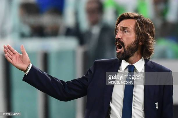 Juventus' Italian coach Andrea Pirlo reacts during the Italian Serie A football match Juventus vs Sampdoria on September 20, 2020 at the Juventus...