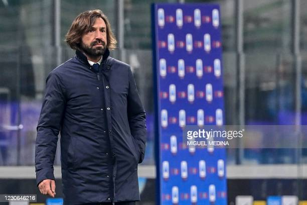 Juventus' Italian coach Andrea Pirlo reacts during the Italian Serie A football match Inter vs Juventus on January 17, 2021 at the San Siro stadium...