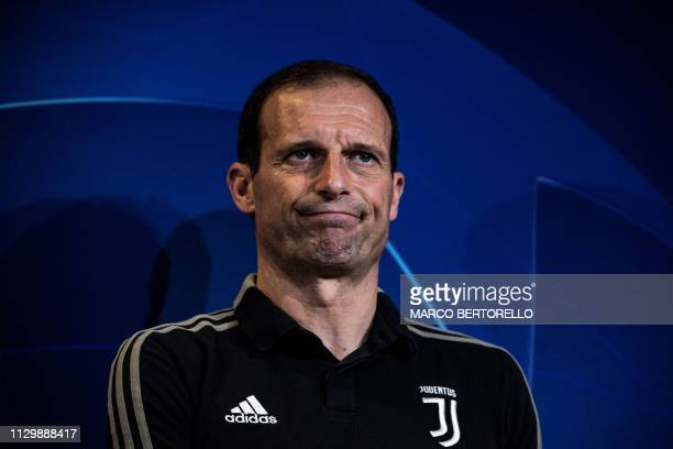 Juventus' Italian coach Massimiliano Allegri delivers a press conference on the eve of the UEFA Champions League round of 16 secondleg football match...
