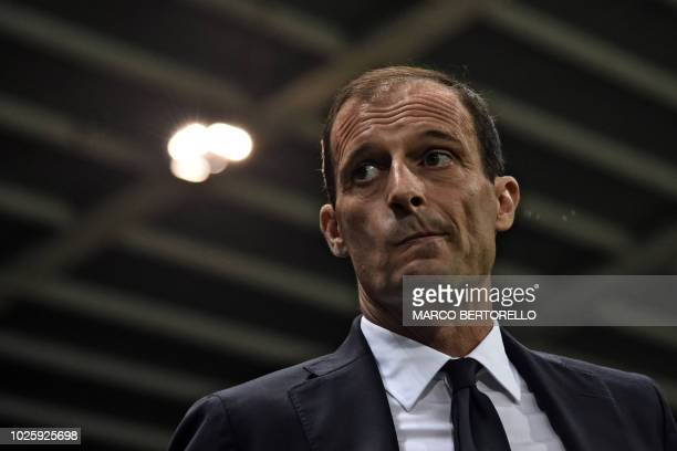 Juventus' Italian coach Massimiliano Allegri gestures during the Italian Serie A football match Parma vs Juventus on September 1 2018 at Ennio...
