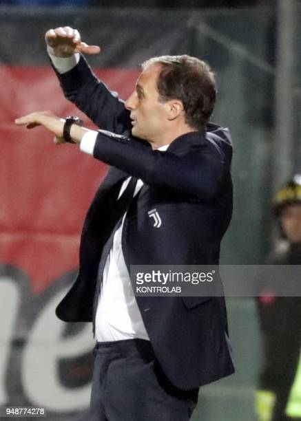 Juventus' Italian coach Massimiliano Allegri gestures during the Italian Serie A football match FC Crotone vs FC Juventus on April 18 2018 at the...