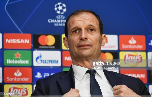 Juventus' Italian coach Massimiliano Allegri gives a press conference at the Johan Cruyff ArenA in Amsterdam on April 9 on the eve of the UEFA...