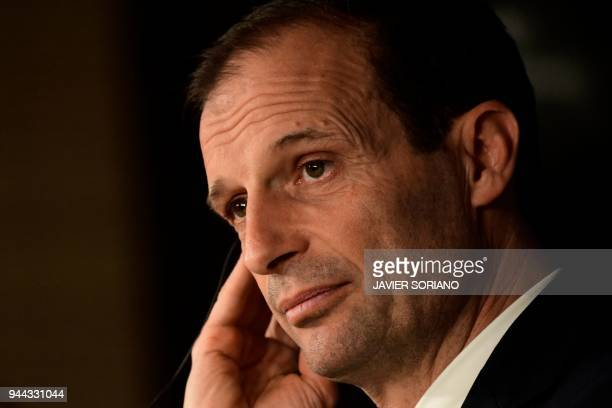Juventus' Italian coach Massimiliano Allegri gives a press conference at the Santiago Bernabeu stadium in Madrid on April 10 2018 on the eve of the...