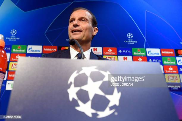 Juventus' Italian coach Massimiliano Allegri holds a press conference at the Mestalla stadium in Valencia on September 18 2018 on the eve of the UEFA...