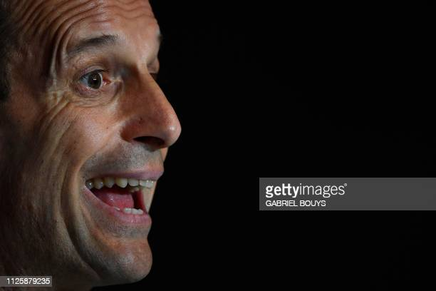 Juventus' Italian coach Massimiliano Allegri holds a press conference at the Wanda Metropolitan stadium in Madrid on February 19 2019 ahead of the...
