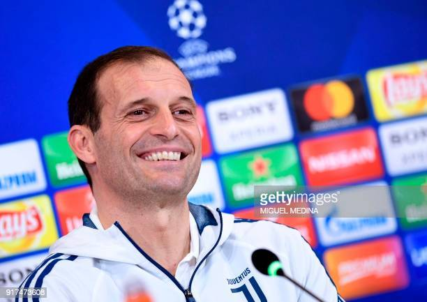 Juventus' Italian coach Massimiliano Allegri holds a press conference in Turin on February 12 on the eve of the UEFA Champions League round of 16...