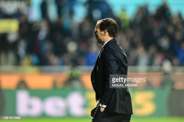 Juventus' Italian coach Massimiliano Allegri leaves after being expelled from the pitch during the Italian Tim Cup round of eight football match...