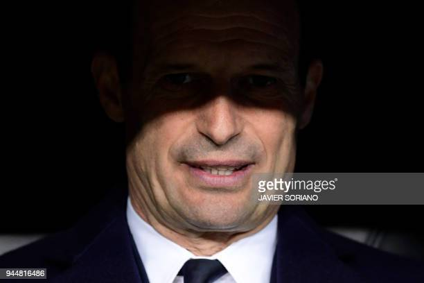 Juventus' Italian coach Massimiliano Allegri looks on before the UEFA Champions League quarterfinal second leg football match between Real Madrid CF...