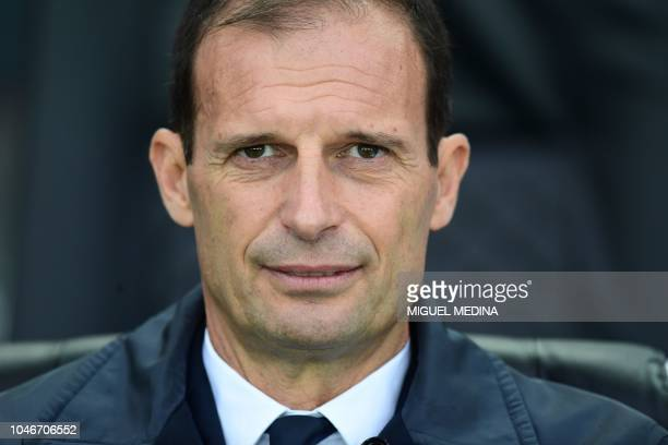 Juventus' Italian coach Massimiliano Allegri looks on during the Italian Serie A football match Udinese Calcio vs Juventus FC at the Dacia Arena...