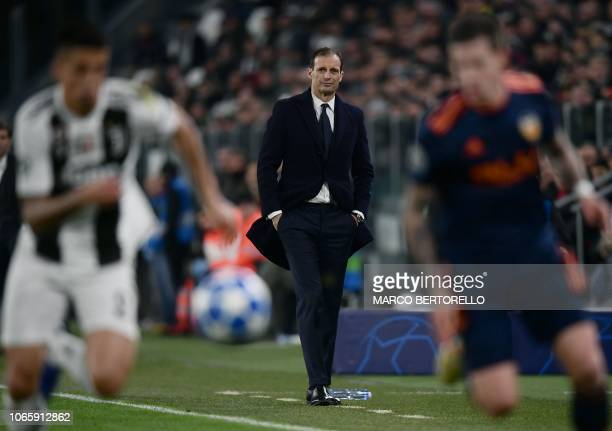 Juventus' Italian coach Massimiliano Allegri looks on during the UEFA Champions League group H football match Juventus vs Valence on November 27 2018...