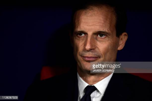 Juventus' Italian coach Massimiliano Allegri looks on during the UEFA Champions League round of 16 first leg football match between Club Atletico de...