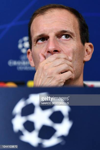 Juventus' Italian coach Massimiliano Allegri ponders during a press conference on the eve of the UEFA Champions League group H football match between...