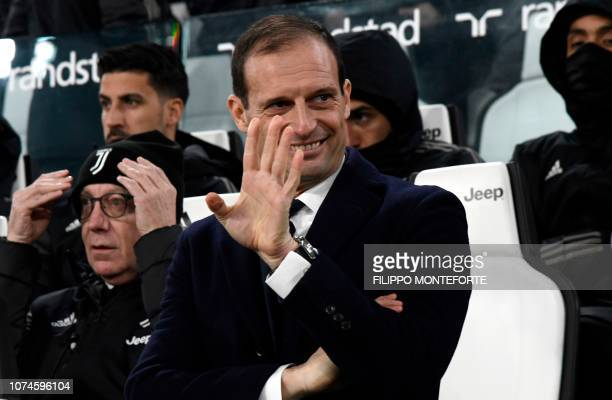 Juventus' Italian coach Massimiliano Allegri waves prior to the Italian Serie A Football match Juventus FC vs AS Roma on December 22 2018 at the...