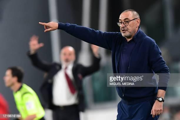 Juventus' Italian coach Maurizio Sarri gestures during the Italian Cup semi-final second leg football match Juventus vs AC Milan on June 12, 2020 at...