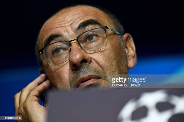 Juventus' Italian coach Maurizio Sarri gives a press conference at the Wanda Metropolitano stadium in Madrid on September 17 2019 on the eve of the...