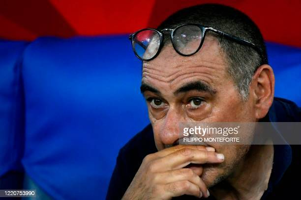 Juventus' Italian coach Maurizio Sarri reacts after Juventus lost the TIM Italian Cup final football match Napoli vs Juventus on June 17 2020 at the...