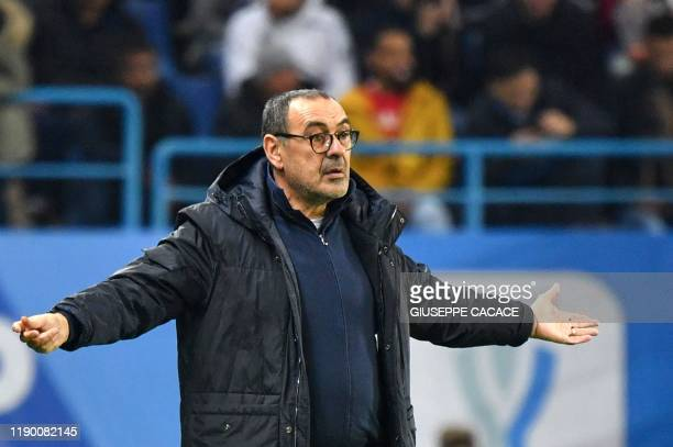 Juventus' Italian coach Maurizio Sarri reacts during the Supercoppa Italiana final football match between Juventus and Lazio at the King Saud...