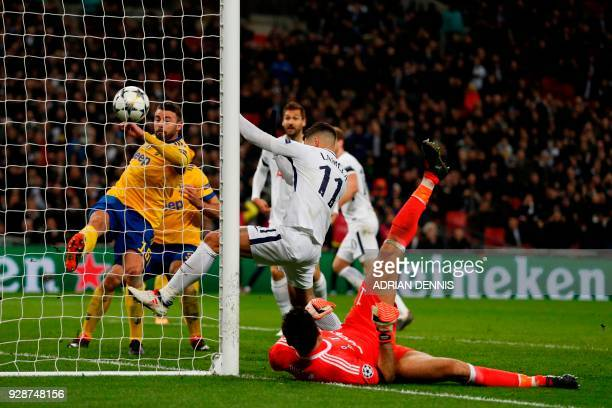 Juventus' Italian defender Andrea Barzagli clears the ball from the line to save a goal during the UEFA Champions League round of sixteen second leg...