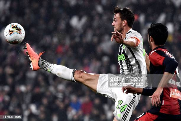 Juventus' Italian defender Daniele Rugani controls the ball during the Italian Serie A football match between Juventus and Genoa on October 30 2019...