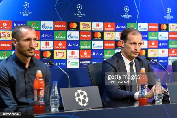 Juventus' Italian defender Giorgio Chiellini and Juventus' Italian coach Massimiliano Allegri hold a press conference at the Mestalla stadium in...