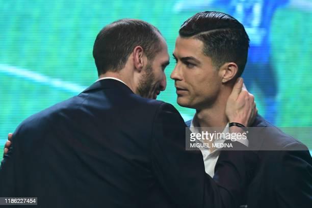 """Juventus' Italian defender Giorgio Chiellini congratulates Juventus' Portuguese forward Cristiano Ronaldo during the """"Gran Gala del Calcio"""" Italian..."""