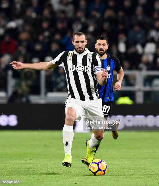 Juventus' Italian defender Giorgio Chiellini controls the ball during the Italian Serie A football match between Juventus and Inter Milan at The...