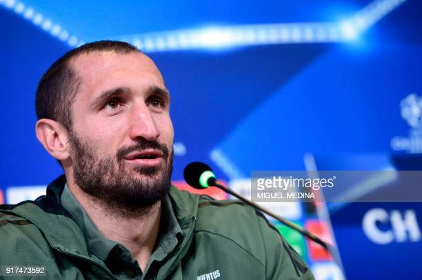 Juventus' Italian defender Giorgio Chiellini holds a press conference in Turin on February 12 on the eve of the UEFA Champions League round of 16...