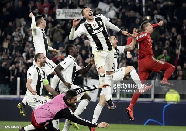 Juventus' Italian defender Giorgio Chiellini Juventus' Portuguese forward Cristiano Ronaldo Juventus' Italian forward Moise Kean Juventus' Italian...