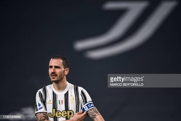 Juventus' Italian defender Leonardo Bonucci adjusts his captain's armband during the Italian Serie A football match Juventus vs Atalanta on December...