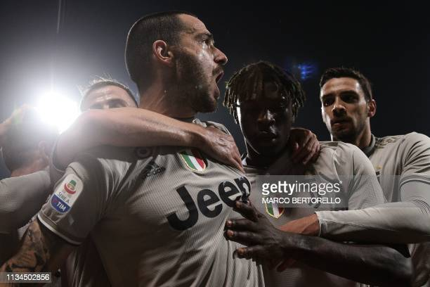 TOPSHOT Juventus' Italian defender Leonardo Bonucci celebrates after opening the scoring during the Italian Serie A football march Cagliari vs...