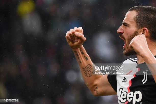 Juventus' Italian defender Leonardo Bonucci celebrates after scoring a goal during the Italian Serie A football match Juventus vs Sassuolo on...