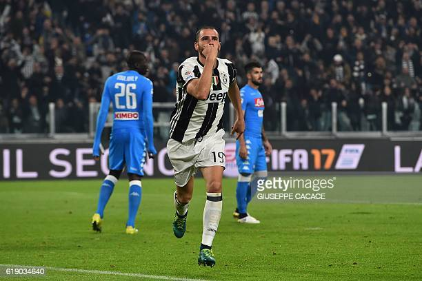 Juventus' Italian defender Leonardo Bonucci celebrates after scoring a goal during the Italian Serie A football match Juventus vs Napoli at Juventus...