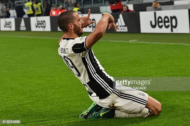 Juventus' Italian defender Leonardo Bonucci celebrates after scoring a goal during the Italian Serie A football match Juventus vs Napoli at Juventus...
