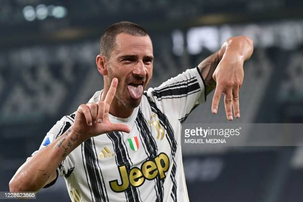 Juventus' Italian defender Leonardo Bonucci celebrates after scoring his team's second goal during the Italian Serie A football match Juventus vs...