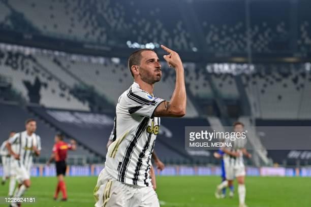 Juventus' Italian defender Leonardo Bonucci celebrates after scoring during the Italian Serie A football match Juventus vs Sampdoria on September 20,...