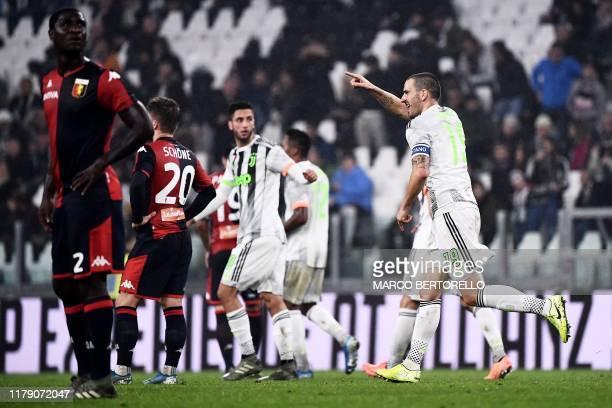 Juventus' Italian defender Leonardo Bonucci celebrates scoring his team's first goal during the Italian Serie A football match between Juventus and...