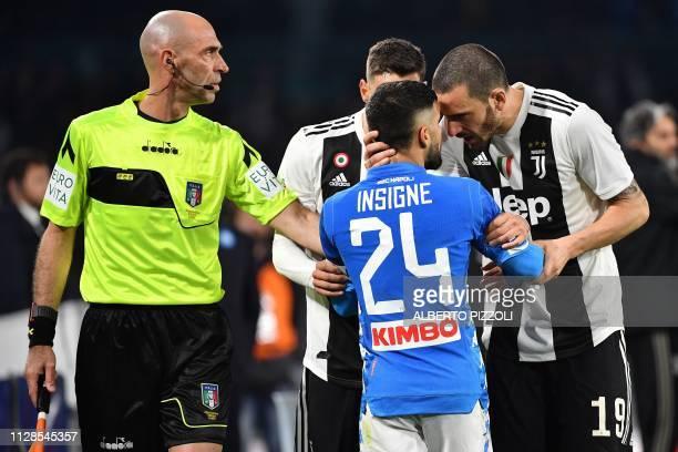 Juventus' Italian defender Mattia De Sciglio and Juventus' Italian defender Leonardo Bonucci argue with Napoli's Italian forward Lorenzo Insigne...