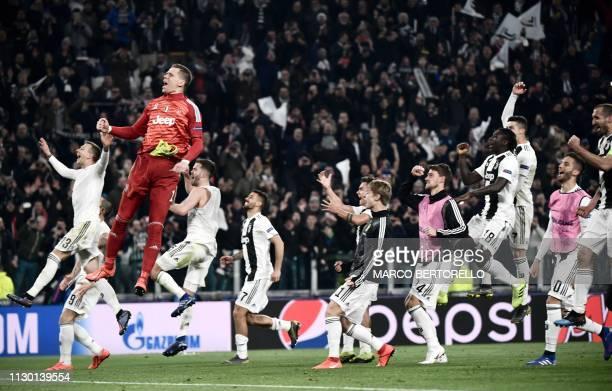 Juventus' Italian forward Federico Bernardeschi Juventus' Polish goalkeeper Wojciech Szczesny Juventus' Bosnian midfielder Miralem Pjanic Juventus'...